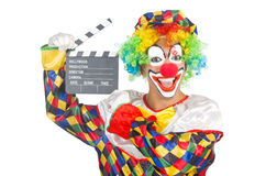 Clown with movie board Royalty Free Stock Image