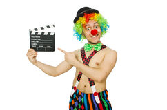 Clown with movie board Royalty Free Stock Photo