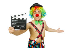 Clown with movie board Stock Images