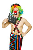 Clown with movie board Stock Photo
