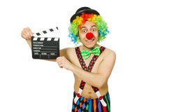 Clown with movie board Stock Photography