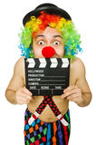 Clown with movie board Stock Photos