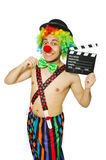 Clown with movie board Royalty Free Stock Photos