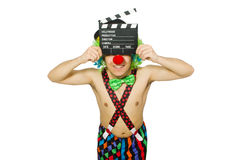 Clown with movie board Royalty Free Stock Photography