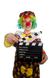 Clown with movie clapper isolated on white Stock Photo