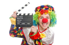 Clown with movie clapper isolated on white Royalty Free Stock Images