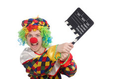 Clown with movie clapper isolated on white Stock Photography