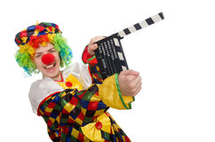 Clown with movie clapper isolated on white Royalty Free Stock Image