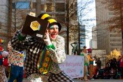 Clown Mugs For Camera In Atlanta Christmas Parade Royalty Free Stock Images