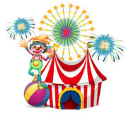 A clown near the circus tent. Illustration of a clown near the circus tent on a white background Stock Image