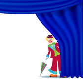 Clown near curtain Stock Photography