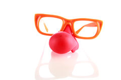 Clown nose glasses isolated on white Royalty Free Stock Images