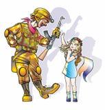 Clown och flicka Arkivbild