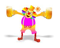 Clown offering beer Stock Photos