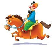 Clown på en häst Royaltyfri Bild