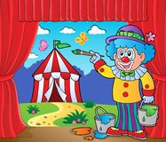 Clown painting image of circus on stage Stock Photos