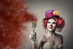Clown painting royalty free stock photo