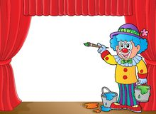 Clown with paints on stage. Eps10 vector illustration Stock Image