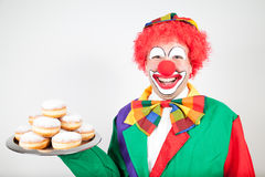 Clown with pancakes Royalty Free Stock Photography
