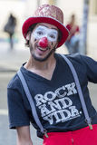 Clown performing in the street to provide info against AIDS Royalty Free Stock Photography