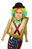 Clown with picture frame Royalty Free Stock Images