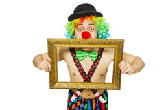 Clown with picture frame Royalty Free Stock Photo