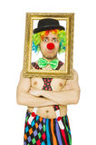 Clown with picture frame Stock Photo