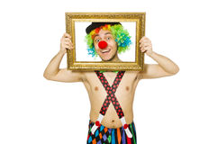 Clown with picture frame Stock Photos