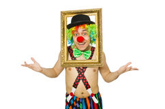 Clown with picture frame Stock Images
