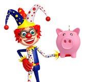 Clown with piggy bank Stock Photos