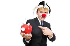 Clown with piggybank Royalty Free Stock Photos