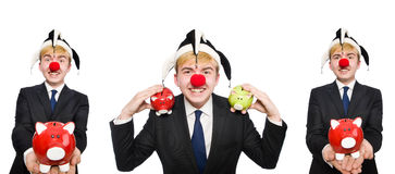 The clown with piggybank in funny concept Stock Image