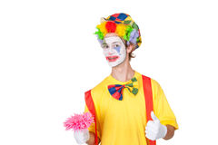 Clown with pink flower Royalty Free Stock Images