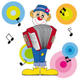 Clown playing the accordion Stock Photo