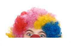 Clown playing seek and hide stock image