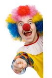 Clown pointing. Funny clown isolated on white background Royalty Free Stock Image