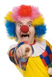 Clown pointing 2. Funny clown isolated on white background Stock Images