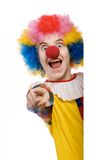 Clown pointing. Funny clown isolated on white background Royalty Free Stock Photo
