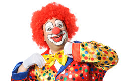 Clown. Portrait of a smiling clown isolated on white stock image