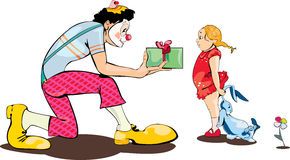 Clown present gift to small girl. Party clown present gift to small girl,  on white Stock Photography