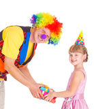 Clown presenting gifts Royalty Free Stock Photos