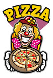 Clown presenting the pizza Royalty Free Stock Images