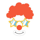 Clown props face. Set. Clown mask. Party  funnyman birthday photo booth props. Wig, nose, funny glasses, smile. Vector illustration clown photo booth props Royalty Free Stock Photos