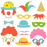 Clown props set. Party  funnyman birthday photo booth props. Hat and wig, nose and funny glasses, cap and mask, bow tie. Vector illustration clown photo booth Stock Photo