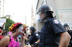 Clown protester. Stock Photo