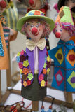 Clown puppets. A selection of brightly colored clown puppets Royalty Free Stock Images