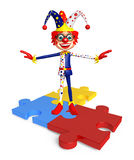 Clown with puzzel sign Stock Photography