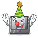 Clown Q button installed on cartoon computer. Vector illustration vector illustration