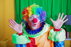 Clown with queer expression on his face. Royalty Free Stock Photography