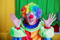 Clown with queer expression on his face. Royalty Free Stock Image